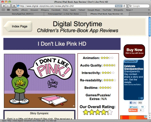 Review of I Don't Like Pink! at Digital Storytime