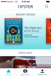 Oyster shows you the most recent books you've accessed on its main mobile screen.